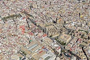 Aerial view over Spanish city