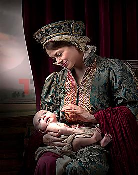 Caucasian medieval mother holding baby son