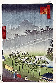 Utagawa Hiroshige, One Hundred Famous Views of Edo, Akasaka-Kiribataki in Rain,