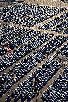 Cars parked in lot at port of Los Angeles