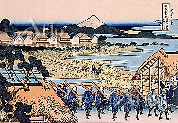 Pleasure District At Senju, Thirty-Six Views Of Mt. Fuji, Hokusai
