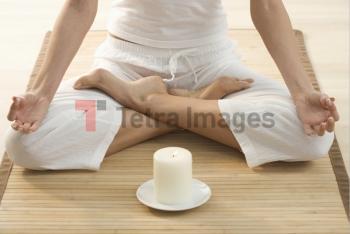 Torso of person doing yoga