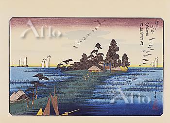 Utagawa Hiroshige, Edo kinkou hakkei no uchi, Eight Views in the Neighbourhood of Edo, Geese Flying Home at Haneda,
