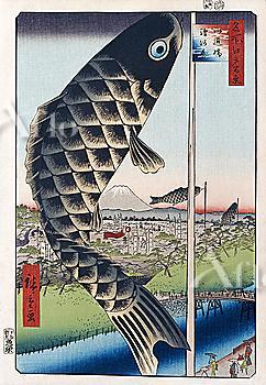 Utagawa Hiroshige, One Hundred Famous Views of Edo, Suido Bridge and Suruga Hill,