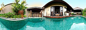 Panoramic view of private pool outside of resort suite