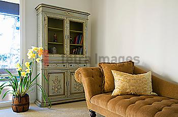 Brown Chase Lounge and Green Armoire