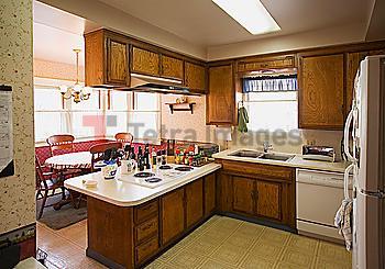 Interior of an older kitchen