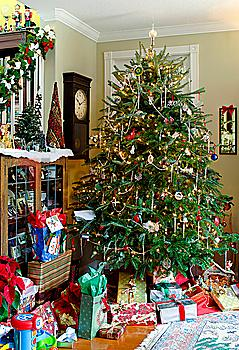Gift boxes with decorated Christmas tree