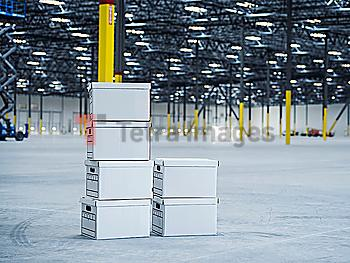 White cardboard boxes in warehouse