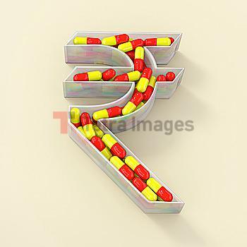 Rupee symbol prescription pill container