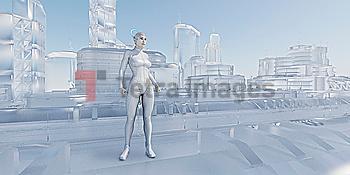 Woman standing near futuristic glass urban architecture