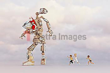 Children chasing Santa steering robot