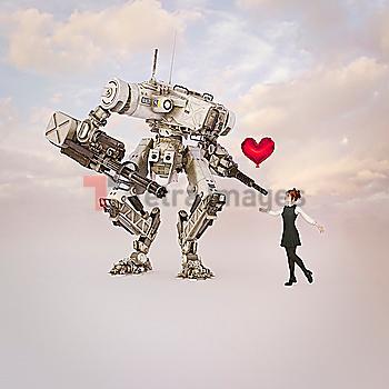 Girl giving heart-shape balloon to robot with guns