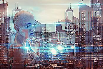 Multiple exposure of woman robot and urban architecture