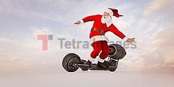 Santa riding futuristic skateboard