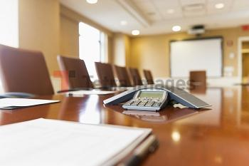 Conference phone on conference table