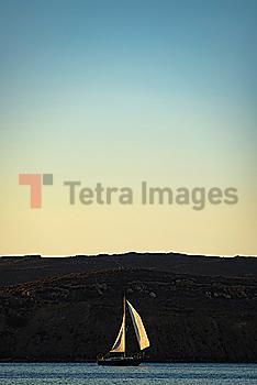 Yacht in Paros Harbor, Greece