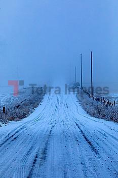 Snow on rural road