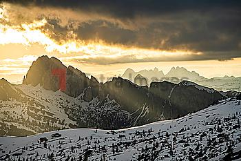 Mountain landscape at sunset in Dolomites, Italy