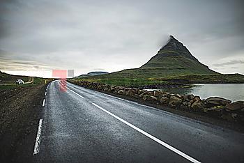 Road by Kirkjufell in Iceland