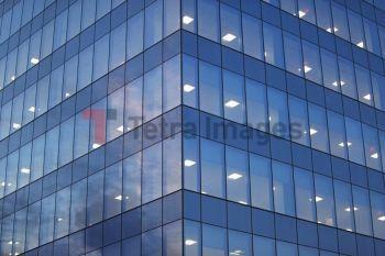 USA, New York, Long Island City, glass facade of office building