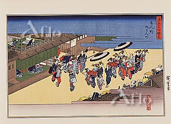 Utagawa Hiroshige, Naniwa meisho zue, Views of naniwa, Advanced call girl in Shinmachi Kyukencho,