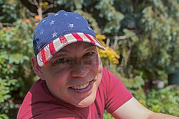 Mixed race man smiling outdoors