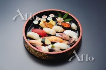Sushi plate on black desk