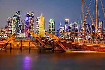 Port by skyline of Doha, Qatar