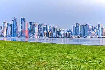 Lawn by skyline of Doha, Qatar