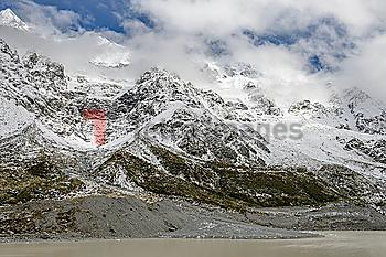 Low cloud over mountains in Mount Cook National Park, New Zealand