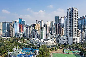 City skyline by sports stadiums in Hong Kong, China