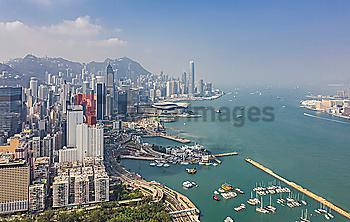Cityscape by sea in Hong Kong, China