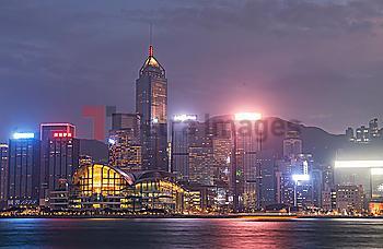 City skyline at sunset in Hong Kong, China