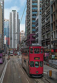 Double-decker tram on street in Hong Kong, China
