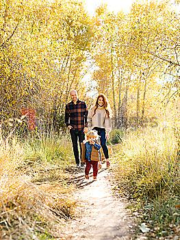 Family walking on forest path