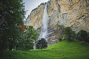 Waterfall and cliff in Lauterbrunnen, Switzerland