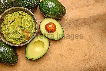 Bowl of guacamole with avocados