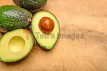 Avocados on wood
