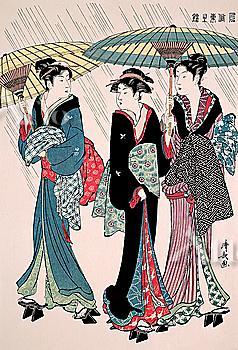 Torii Kiyonaga, Japanese Wood Block Print