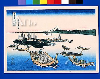 Tsukuda Island In Musashi Province, Thirty-Six Views Of Mt. Fuji, Hokusai