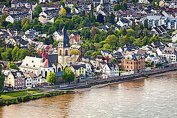 Buildings on bank of Rhine river in Koblenz, Germany