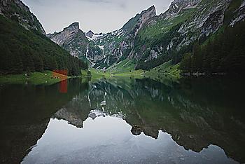 Seealpsee lake in Appenzell Alps, Switzerland