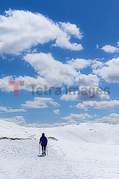 Woman hiking on Loveland Pass in Colorado, USA