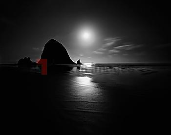 Cannon Beach at sunset in Oregon, USA