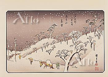 Utagawa Hiroshige, Edo kinkou hakkei no uchi, Eight Views in the Neighbourhood of Edo, Evening Snow at Asukayama,
