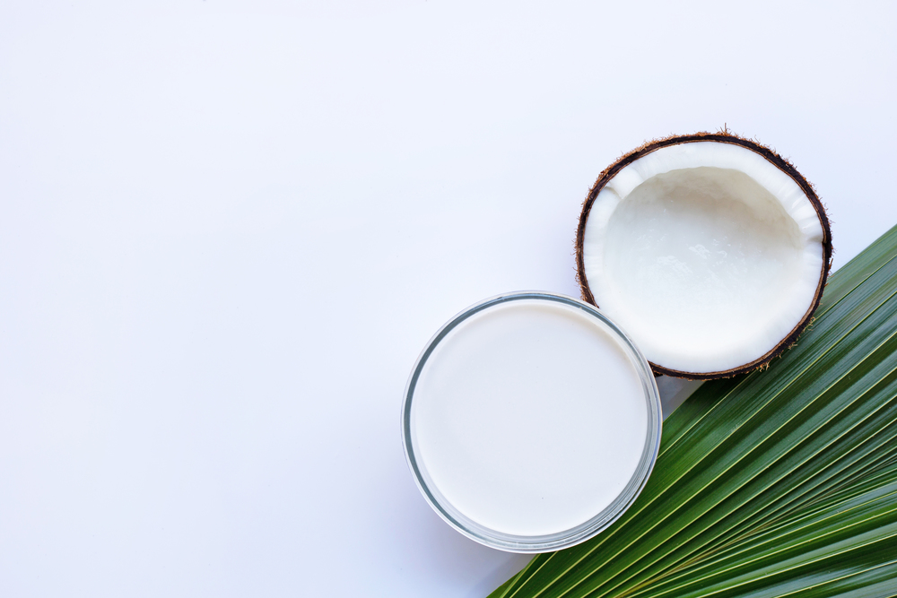 Coconut with coconut milk on white background. Copy space