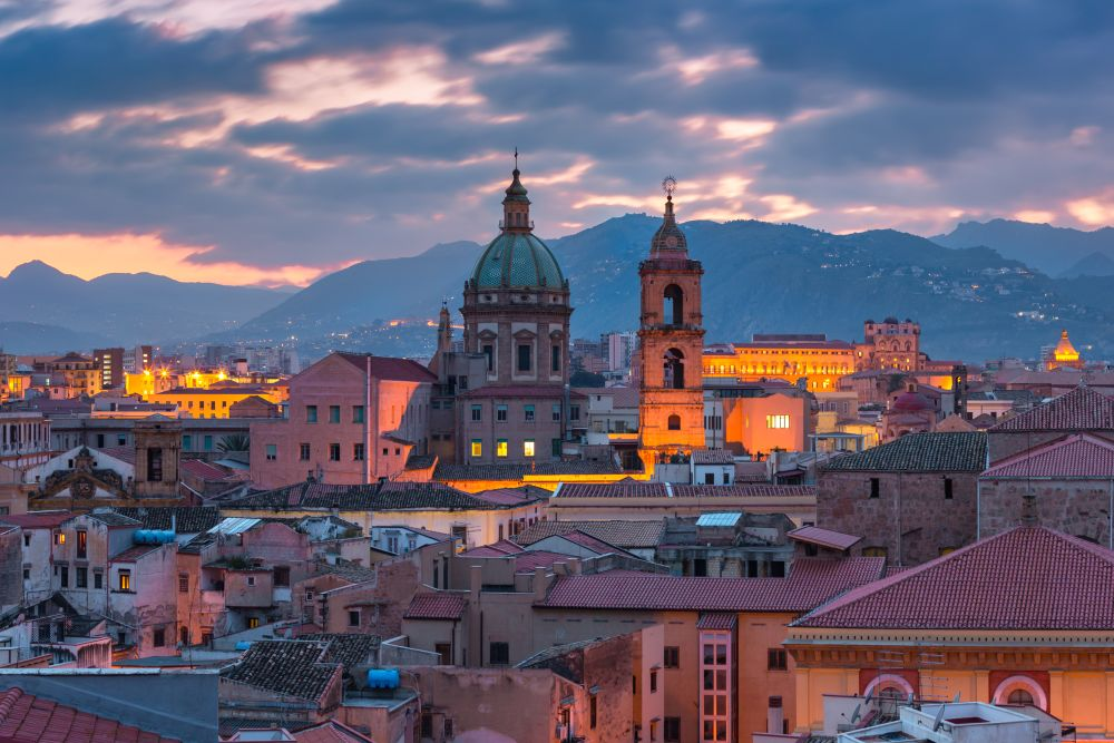 Aerial view of Palermo with Church of the Gesu at sunset, Sicily, Italy. Palermo at sunset, Sicily, Italy