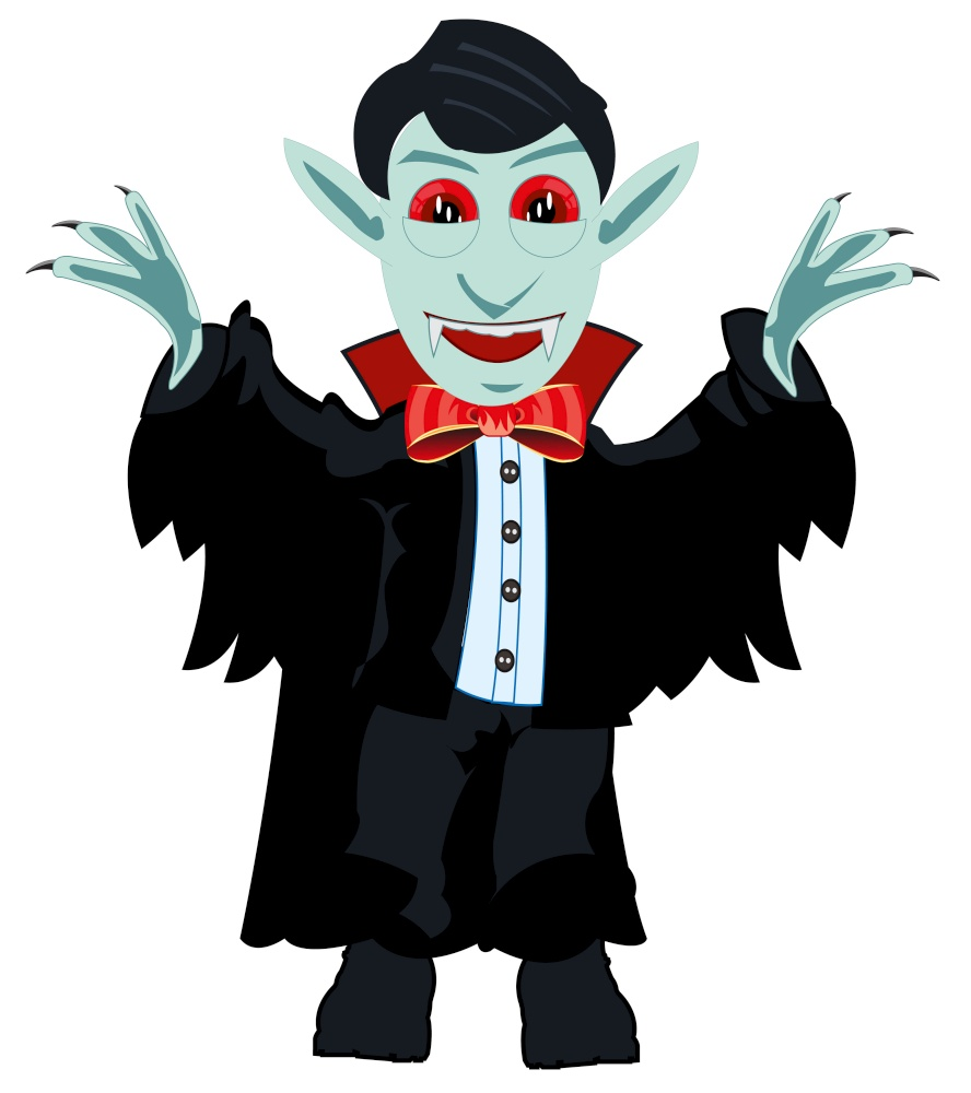 Vector illustration of the cartoon of the vampire column dracula. Vampire dracula on white background is insulated