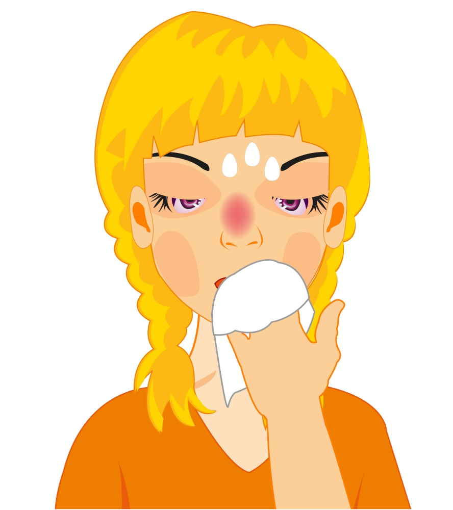 Making look younger girl is ill on white background is insulated. Vector illustration of the girl by sick flu